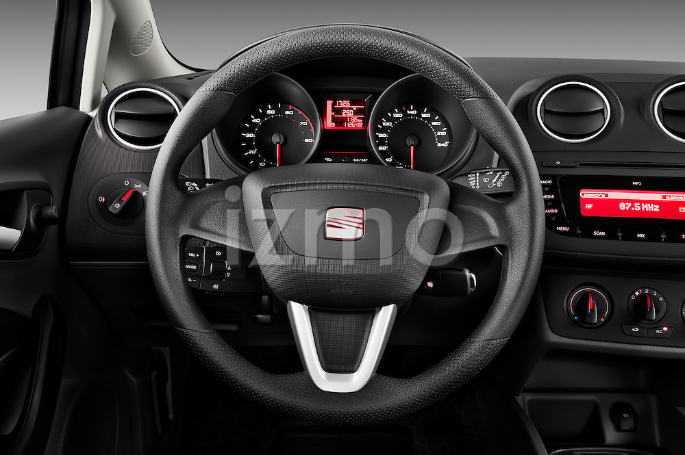 Steering wheel view of 2010 Seat Ibiza ST 5 Door Wagon Stock Photo