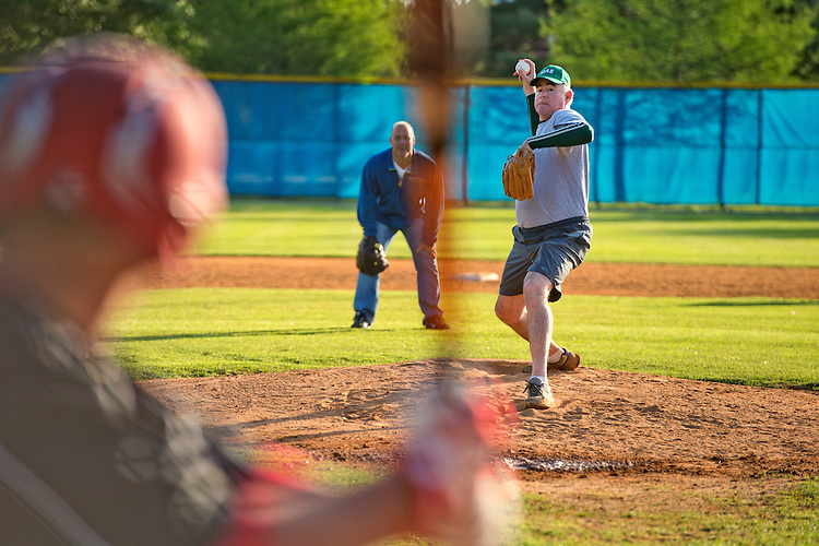 UNITED STATES - MAY 14: Rep. Pat Meehan, R-Pa., pitches during Republican baseball practice in Alexandria, Va., May 14, 2015. (Photo By Tom Williams/CQ Roll Call)