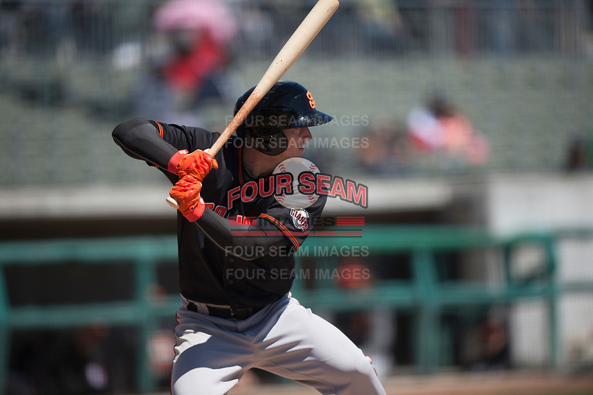 San Jose Giants right fielder Bryce Johnson (23) during a California League game against the Stockton Ports on April 9, 2019 in Stockton, California. San Jose defeated Stockton 4-3. (Zachary Lucy/Four Seam Images)