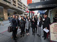 Group photo at Boba Guys.<br /> Eleven Occidental College first-years and sophomores traveled with Career Services staff and Senior Associate Dean of Students Erica O'Neal Howard to San Francisco for a day to visit Cambridge Associates, managers of Oxy's endowment, as part of their workforce diversity initiative. They were invited to meet with employees (including two alums), tour the office, and learn about careers in investment management. Students were able to see how their quantitative courses could be applied to future career opportunities.<br /> January 17, 2020.<br /> (Photo by Marc Campos, Occidental College Photographer)