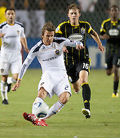 LA Galaxy midfielder David Beckham (23) passes the ball during the second half of the game between LA Galaxy and the Columbus Crew at the Home Depot Center in Carson, CA, on September 11, 2010. LA Galaxy 3, Columbus Crew 1.