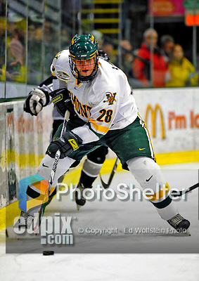 7 February 2009: University of Vermont Catamount defenseman Dan Lawson, a Sophomore from Oak Forest, IL, in action against the Providence College Friars during the second game of a weekend series at Gutterson Fieldhouse in Burlington, Vermont. The Catamounts swept the 2-game series notching 4-1 wins in both games. Mandatory Photo Credit: Ed Wolfstein Photo