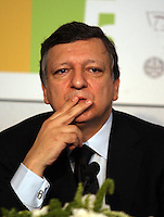European Commission President Jose Manuel Durao Barroso, gesture  during Coference  European Integration and  Democracy at celebration of the 25th Anniversary of the signature of the adhesion of Portugal and Spain to the European Community at Jeronimos Monastary June 11,2010  in  Lisbon..