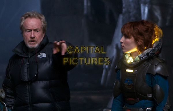 Ridley Scott (director) & Noomi Rapace.on the set of Prometheus.*Filmstill - Editorial Use Only*.CAP/NFS.Supplied by Capital Pictures.
