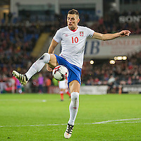 Dusan Tadic of Serbia in action with a bloodied nose during the FIFA World Cup Qualifying match between Wales and Serbia at the Cardiff City Stadium, Cardiff, Wales on 12 November 2016. Photo by Mark  Hawkins.