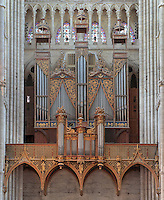 Grand organ, installed 1549,  with the choir organ of 1620, in the Basilique Cathedrale Notre-Dame d'Amiens or Cathedral Basilica of Our Lady of Amiens, built 1220-70 in Gothic style, Amiens, Picardy, France. Only the base and the gallery are original, dating to 1422. Amiens Cathedral was listed as a UNESCO World Heritage Site in 1981. Picture by Manuel Cohen