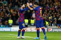 27th November 2019; Camp Nou, Barcelona, Catalonia, Spain; UEFA Champions League Football, Barcelona versus Borussia Dortmund;  Leo Messi  celebrates after scoring for 2-0 in the 33rd minute with Luis Suarez - Editorial Use