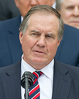 New England Patriots head coach Bill Belichick makes remarks during the ceremony welcoming the Super Bowl Champions to the South Lawn of White House in Washington, DC on Wednesday, April 19, 2917.<br /> Credit: Ron Sachs / CNP/MediaPunch<br /> <br /> (RESTRICTION: NO New York or New Jersey Newspapers or newspapers within a 75 mile radius of New York City)