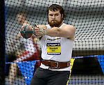 BROOKINGS, SD - FEBRUARY 24:  Payton Otterdahl from North Dakota State University prepares to throw the weight Friday afternoon at the Summit League Indoor Championships in Brookings, SD. (Photo by Dave Eggen/Inertia)