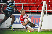Picture by Alex Whitehead/SWpix.com - 01/05/2014 - Rugby League - First Utility Super League - St Helens v London Broncos - Langtree Park, St Helens, England - St Helens' Adam Swift scores a try.