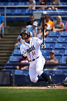 Binghamton Rumble Ponies right fielder L.J. Mazzilli (11) follows through on a swing during a game against the Hartford Yard Goats on July 9, 2017 at NYSEG Stadium in Binghamton, New York.  Hartford defeated Binghamton 7-3.  (Mike Janes/Four Seam Images)
