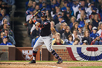 Cleveland Indians Rajai Davis (20) bats in the seventh inning during Game 3 of the Major League Baseball World Series against the Chicago Cubs on October 28, 2016 at Wrigley Field in Chicago, Illinois.  (Mike Janes/Four Seam Images)