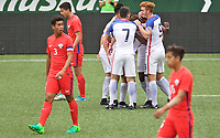 Portland, OR - Saturday August 12, 2017: Goal Celebration during friendly match between the USMNT U17's and Chile u17's at Providence Park in Portland, OR.