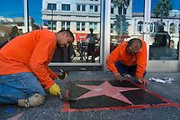 Construction and installation of the star on The Walk Of Fame, Los Angeles, California