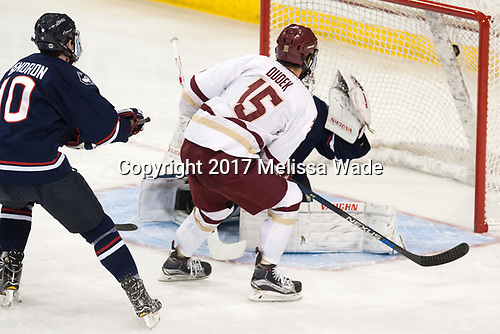 JD Dudek (BC - 15) makes it 2-0 BC. - The Boston College Eagles defeated the visiting UConn Huskies 2-1 on Tuesday, January 24, 2017, at Kelley Rink in Conte Forum in Chestnut Hill, Massachusetts.