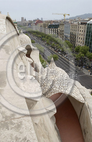 Barcelona-Spain - 15 April 2006---On the roof garden of Casa Milà i Camps (Mila) - La Pedrera, built by Antoni Gaudí (Gaudi) 1906-1910---culture, architecture---Photo: Horst Wagner / eup-images