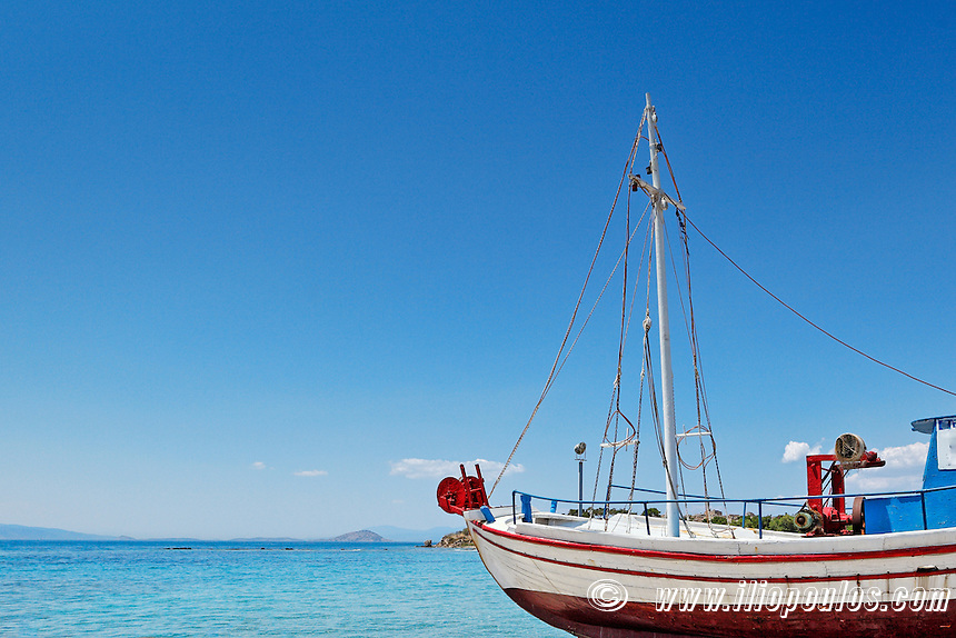 Traditional fishing boat in Aegina island, Greece