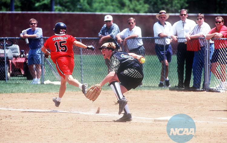 Caption: 19 MAY 1997: Parkside's Jessie Johnson (9) reacts to a forced out of California's Kate Vaughn (15) during the Women's Division 2 Softball Championship held at Longwood College in Salem, VA. California defeated Parkside 2-1 for the championship title. Andres Alonso/NCAA Photos.