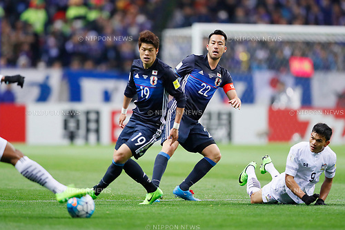 (L-R) Hiroki Sakai, Maya Yoshida (JPN), <br /> MARCH 28, 2017 - Football / Soccer : <br /> FIFA World Cup Russia 2018 Asian Qualifier <br /> Final Round Group B <br /> between Japan 4-0 Thailand <br /> at Saitama Stadium 2002, Saitama, Japan. <br /> (Photo by Yohei Osada/AFLO)