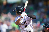 Jacob May (8) of the Charlotte Knights at bat against the Gwinnett Braves at BB&T BallPark on July 16, 2017 in Charlotte, North Carolina.  The Knights defeated the Braves 5-4.  (Brian Westerholt/Four Seam Images)