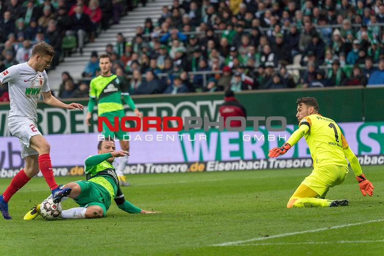 10.02.2019, Weser Stadion, Bremen, GER, 1.FBL, Werder Bremen vs FC Augsburg, <br /> <br /> DFL REGULATIONS PROHIBIT ANY USE OF PHOTOGRAPHS AS IMAGE SEQUENCES AND/OR QUASI-VIDEO.<br /> <br />  im Bild<br /> <br /> Michael Gregoritsch (FC Augsburg #11)<br /> Philipp Bargfrede (Werder Bremen #44)<br /> Jiri Pavlenka (Werder Bremen #01)<br /> <br /> Foto &copy; nordphoto / Kokenge