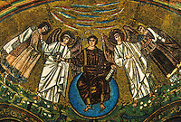 Ravenna: Temple of San Vitale--The Apse's Niche. The Redeemer between the Angels Saint Vitale and Eclesio.