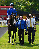 Neshmeya ridden by Jim Crowley and trained by Charles Hills are led into the winners enclosure after winning The Wateraid Mildren Construction Maiden Fillies' Stakes (Plus 10) during Father's Day Racing at Salisbury Racecourse on 18th June 2017