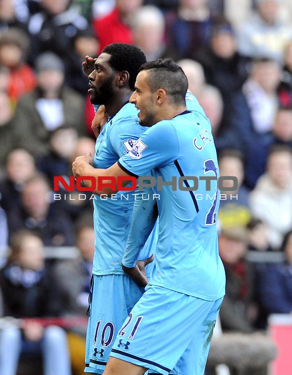 Tottenham Hotspur's Emmanuel Adebayor celebrates his goal -   19/01/2014 - SPORT - FOOTBALL - Liberty Stadium - Swansea - Swansea City v Tottenham Hotspur - Barclays Premier League<br /> Foto nph / Meredith<br /> <br /> ***** OUT OF UK *****