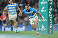 Santiago Cordero of Argentina runs in for a try during the Old Mutual Wealth Series match between England and Argentina at Twickenham Stadium on Saturday 26th November 2016 (Photo by Rob Munro)