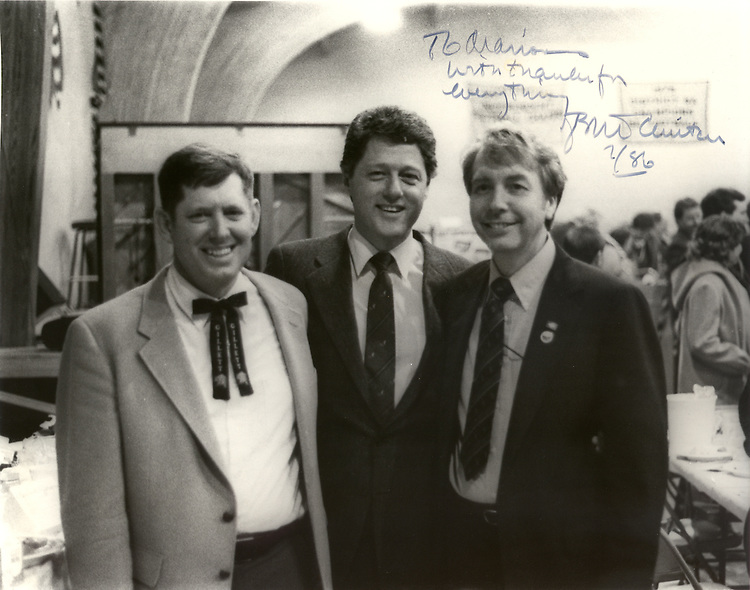 Congressman Marion Berry poses for a picture at the 1986 Coon Supper in Gillett,  Arkansas with his close friends Governor Bill Clinton and pastor Don Eubanks. The fabled Coon Supper was started by the Gillett Farmers and Businessmen Club in 1947 and has become a major political gathering for the past sixty years. Congressman Berry and his wife Carolyn often host a kick-off reception at their home across the street which Clinton used to attend during his years as Governor of the state.