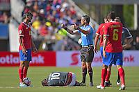 Action photo during the match Costa Rica vs Paraguay, Corresponding Group -A- America Cup Centenary 2016, at Citrus Bowl Stadium<br /> <br /> Foto de accion durante el partido Estados Unidos vs Colombia, Correspondiante al Grupo -A-  de la Copa America Centenario USA 2016 en el Estadio Citrus Bowl, en la foto: (i-d) Bryan Ruiz de Costa Rica,  Derlis Gonzalez de Paraguay  y el Arbitro Patricio Loustau<br /> <br /> <br /> <br /> 04/06/2016/MEXSPORT/Isaac Ortiz.