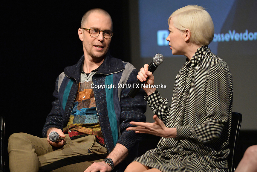 """NEW YORK - APRIL 7: (L-R) Sam Rockwell and Michelle Williams attend the Q&A panned after the screening of FX's """"Fosse Verdon"""" presented by FX Networks, Fox 21 Television Studios, and FX Productions at the Museum of Modern Art on April 7, 2019 in New York City. (Photo by Anthony Behar/FX/PictureGroup)"""