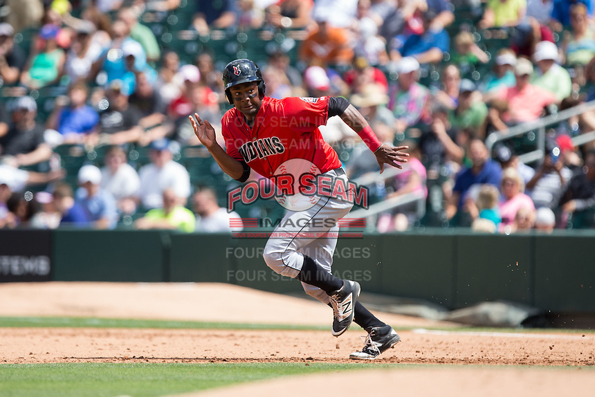 Josh Bell (18) of the Indianapolis Indians takes off for second base during the game against the Charlotte Knights at BB&T BallPark on June 19, 2016 in Charlotte, North Carolina.  The Indians defeated the Knights 6-3.  (Brian Westerholt/Four Seam Images)