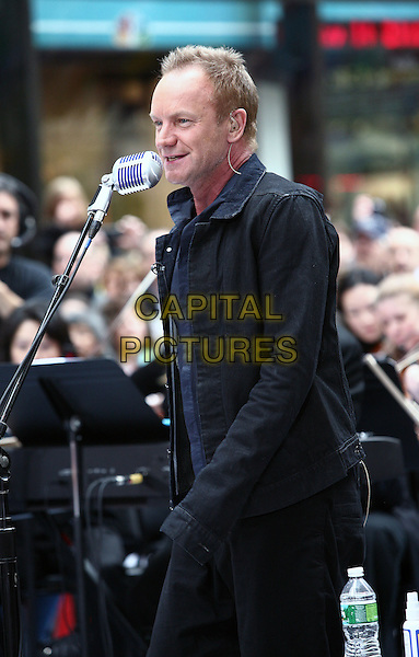 STING (Gordon Matthew Thomas Sumner).Musician Sting performs on NBC's 'Today' at Rockefeller Center New York City, New York, NY, USA..May 14th, 2010.stage concert live gig performance music half length black jacket blue shirt singing profile.CAP/ADM/PZ.©Paul Zimmerman/AdMedia/Capital Pictures.