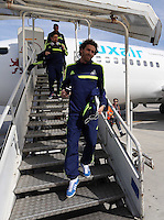 Wednesday 26 February 2014<br /> Pictured: Jose Canas followed by other players arrive at Napoli.<br /> Re: Swansea City FC travel to Italy for their UEFA Europa League game against Napoli.