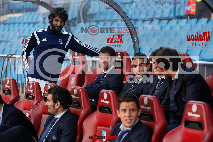 Real Sociedad´s Granero and Prieto talk in the bench before La Liga match against Atletico de Madrid at Vicente Calderon stadium in Madrid, Spain. April 07, 2015. (ALTERPHOTOS/Victor Blanco) /NORTEphoto.com