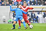 Rouwen Hennings (Fortuna Duesseldorf #28) gegen Hoffenheims Nico Schulz (Nr.16)  beim Spiel in der Fussball Bundesliga, TSG 1899 Hoffenheim - Fortuna Duesseldorf.<br /> <br /> Foto © PIX-Sportfotos *** Foto ist honorarpflichtig! *** Auf Anfrage in hoeherer Qualitaet/Aufloesung. Belegexemplar erbeten. Veroeffentlichung ausschliesslich fuer journalistisch-publizistische Zwecke. For editorial use only. DFL regulations prohibit any use of photographs as image sequences and/or quasi-video.
