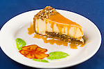 Sea Galley Food assignment shot on site. Caramel Cheesecake