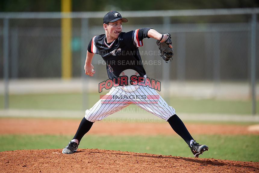 Edgewood College Eagles pitcher Steve Gavin (15) delivers a pitch during the second game of a doubleheader against Western Connecticut Colonials on March 13, 2017 at the Lee County Player Development Complex in Fort Myers, Florida.  Edgewood defeated Western Connecticut 2-1.  (Mike Janes/Four Seam Images)