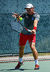 SURPRISE, AZ - MAY 12: Blake Bayldon of the Barry Buccaneers returns a ball against Jorge Vargas of the Columbus State Cougars Cougars during the Division II Men's Tennis Championship held at the Surprise Tennis & Racquet Club on May 12, 2018 in Surprise, Arizona. (Photo by Jack Dempsey/NCAA Photos via Getty Images)