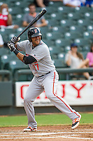 Fresno Grizzlies third baseman Chris Dominquez (17) at bat during the Pacific Coast League baseball game against the Round Rock Express on June 22, 2014 at the Dell Diamond in Round Rock, Texas. The Express defeated the Grizzlies 2-1. (Andrew Woolley/Four Seam Images)