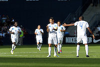 Honduras players celebrate their opening goal... Honduras defeated El Salvador 3-2 after extra time to go through to the final at LIVESTRONG Sporting Park, Kansas City, Kansas.