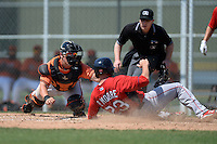 Baltimore Orioles Alex Murphy (65) dives to tag Ben Moore (23) sliding home during a minor league spring training game against the Boston Red Sox on March 18, 2015 at the Buck O'Neil Complex in Sarasota, Florida.  (Mike Janes/Four Seam Images)