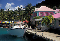 AJ2373, British Virgin Islands, Tortola, Caribbean, Virgin Islands, BVI, B.V.I., Boat moored at dock at Frenchmans' Cay Village on the island of Tortola on the British Virgin Islands.