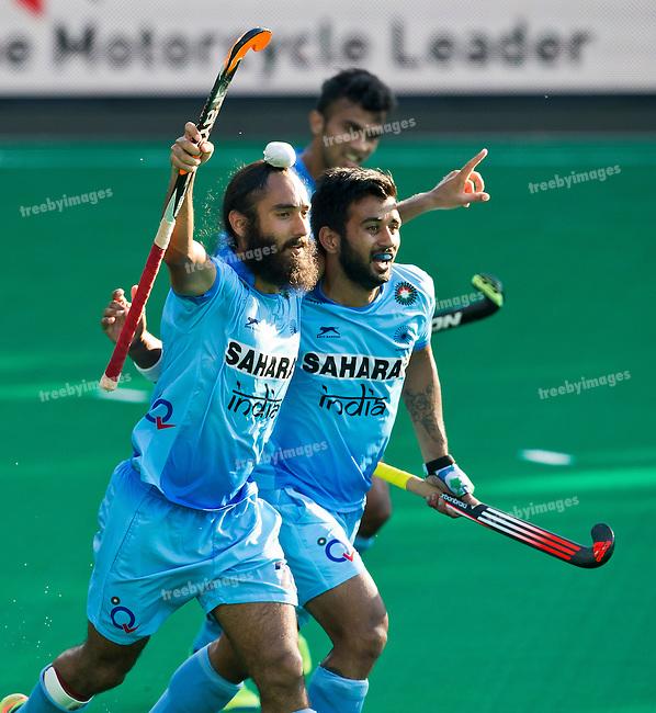 01/07/2015<br /> HWL Semi Final Antwerp Belgium 2015<br /> India v Malaysia Men<br /> Jasjit Singh Kular goals for India <br /> Photo: Grant Treeby