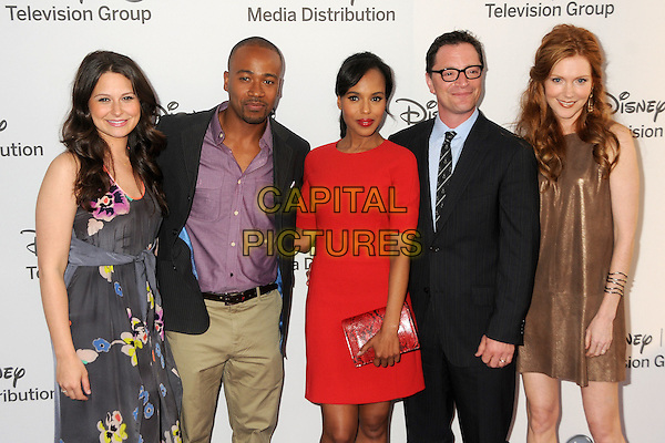 Katie Lowes, Columbus Short, Kerry Washington, Joshua Malina, Darby Stanchfield.Disney Media Networks International Upfronts held at Walt Disney Studios, Burbank, California, USA..May 20th, 2012.half length floral print dress red pink shirt gold suit black  grey gray .CAP/ADM/BP.©Byron Purvis/AdMedia/Capital Pictures.