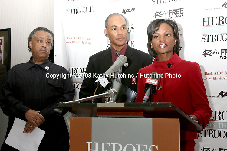 Rev. Al Sharpton, Phill Wilson, and Potter House Representative.The Black AIDS Institue Press Conference.KJLH.Ingelwood, CA.February 7, 2008.©2008 Kathy Hutchins / Hutchins Photo....