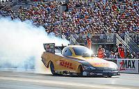 Jun. 15, 2012; Bristol, TN, USA: NHRA funny car driver Jeff Arend during qualifying for the Thunder Valley Nationals at Bristol Dragway. Mandatory Credit: Mark J. Rebilas-
