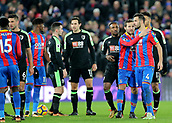 9th December 2017, Selhurst Park, London, England; EPL Premier League football, Crystal Palace versus Bournemouth; Luka Milivojevic of Crystal Palace is held back after Wilfried Zaha of Crystal Palace clashes with Lewis Cook of Bournemouth