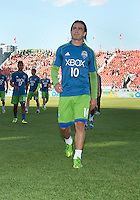 August 10, 2013: Seattle Sounders FC midfielder Mauro Rosales #10 walks off the pitch after warm up during an MLS regular season game between the Seattle Sounders and Toronto FC at BMO Field in Toronto, Ontario Canada.<br /> Seattle Sounders FC won 2-1.